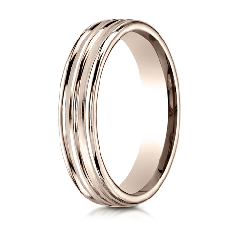 4mm 14kt Rose Gold Wedding Band with Raised Center and Rounded Edges