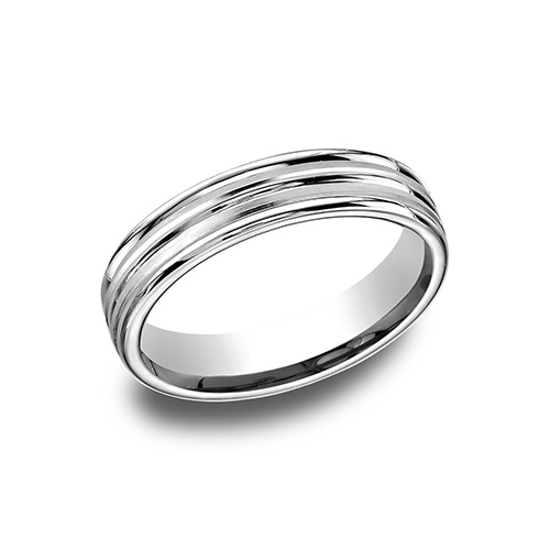 14kt White Gold 4mm Band with Raised Center and Rounded Edges