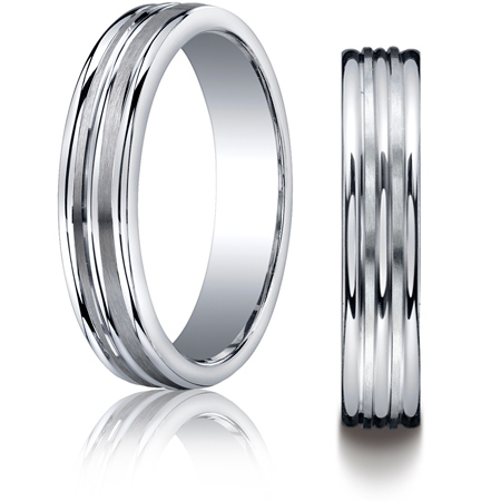 Argentium Silver 5mm Wedding Band with Satin Grooves