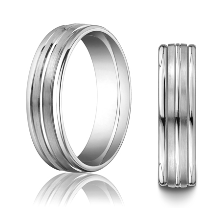 14kt White Gold 6mm Wedding Band Raised Center Rounded Edges