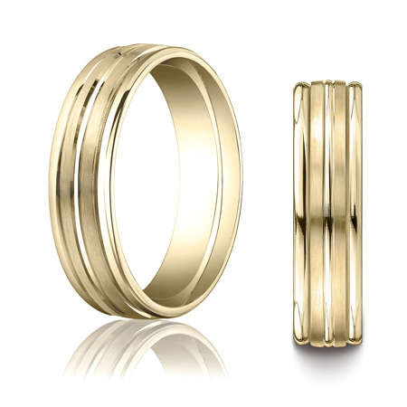 10kt Yellow Gold 6mm Band with Raised Center and Rounded Edges