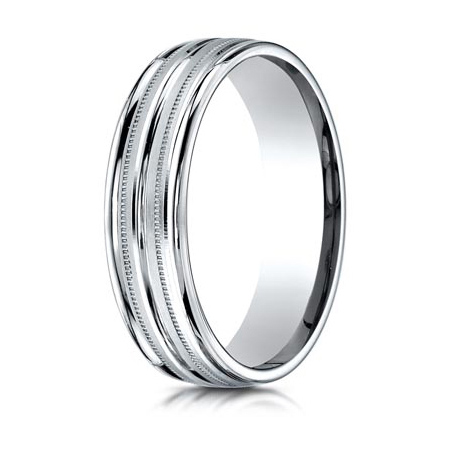 Platinum 6mm Milgrain Wedding Band with Rounded Edges and Raised Center