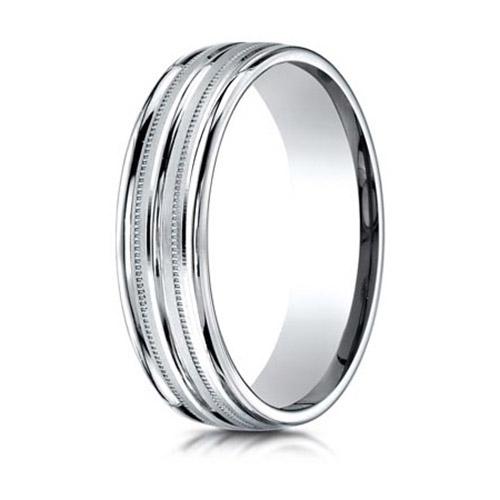 Platinum 6mm Milgrain Wedding Band with Rounded Edges Raised Center