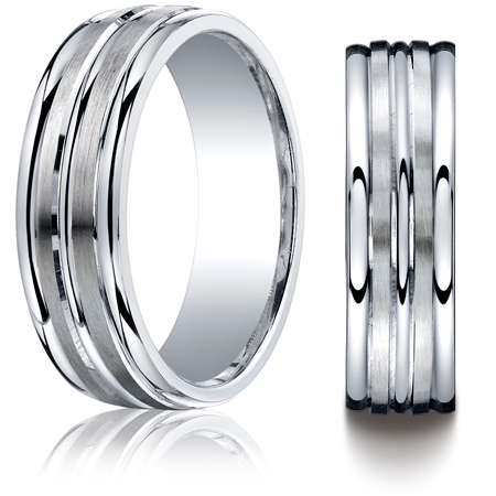 Argentium Silver 7mm Wedding Band with Satin Grooves