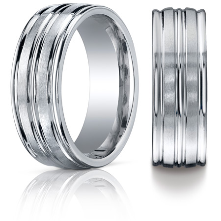 Cobalt Chrome 8mm Wedding Band with Grooves