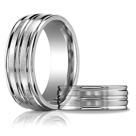 14kt White Gold 8mm Band with Raised Center and Rounded Edges