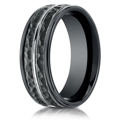 Black Cobalt Chrome 8mm Hammered Ring with White Center Cut