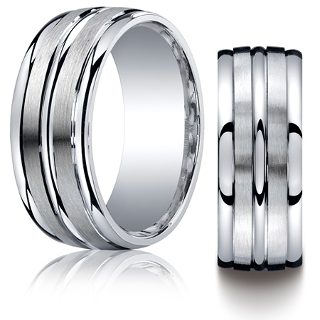 Argentium Silver 9mm Wedding Band with Satin Grooves