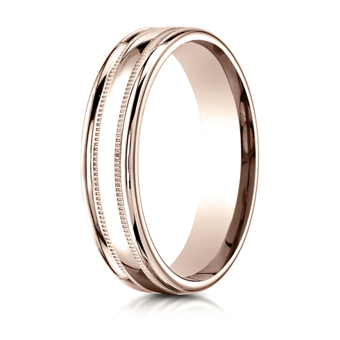 4mm 14kt Rose Gold Wedding Band with Milgrain and Rounded Edges
