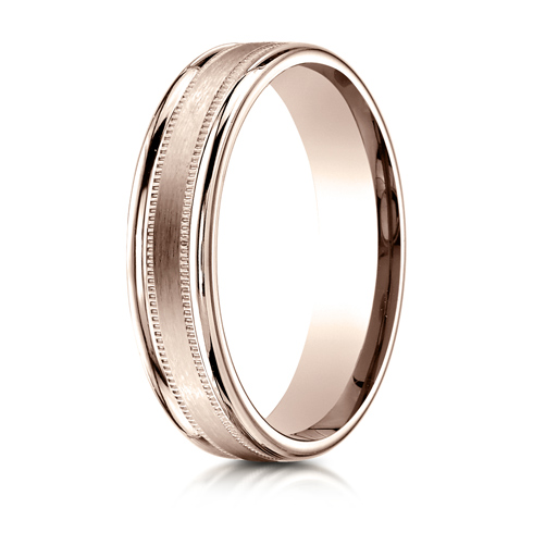 14kt Rose Gold 4mm Satin Wedding Band with Milgrain Rounded Edges