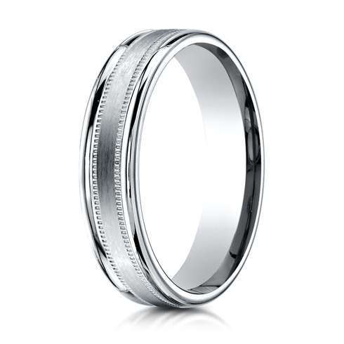 Platinum 4mm Satin Milgrain Band with Rounded Edges