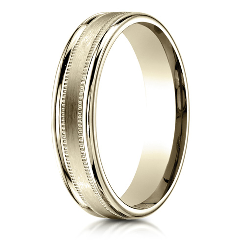 14kt Yellow Gold 4mm Satin Patterned Wedding Band