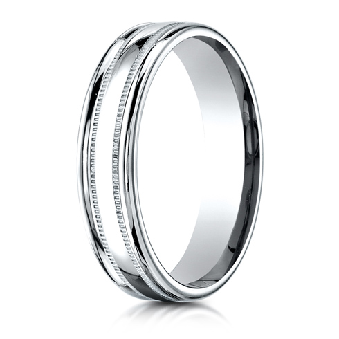 14kt White Gold 4mm Patterned Band