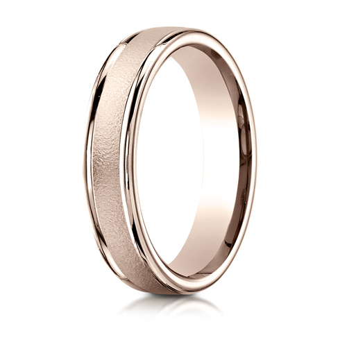 14kt Rose Gold 4mm Wedding Band with Wire Finish and Rounded Edges