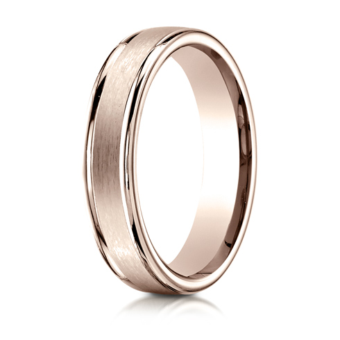 4mm 14kt Rose Gold Wedding Band with Satin Finish and Rounded Edges