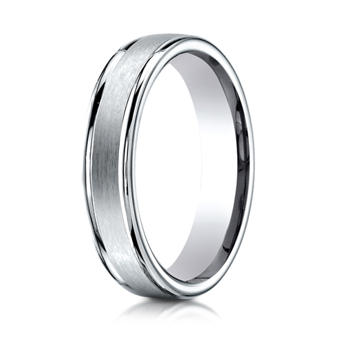 14k White Gold 4mm Satin Wedding Band with Rounded Edges