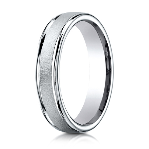 14kt White Gold 4mm Wire Brushed Band with Rounded Edges