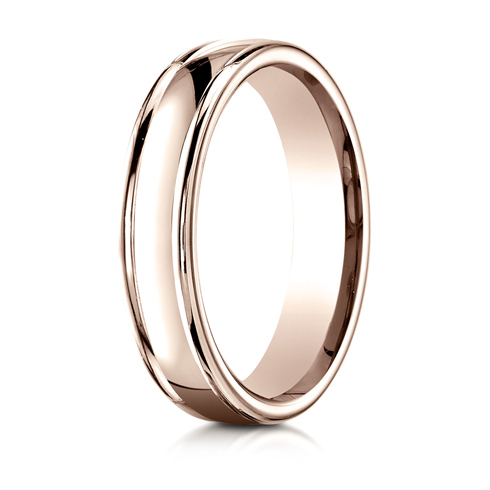 4mm 14kt Rose Gold Wedding Band with Rounded Edges