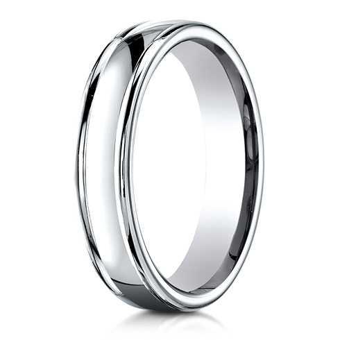 Platinum 4mm Comfort Fit Wedding Band with Rounded Edges