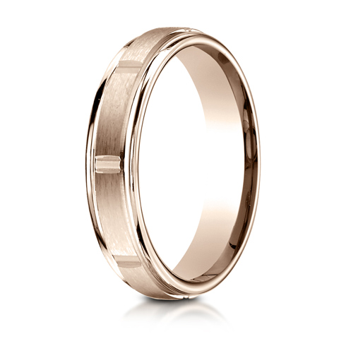 4mm 14kt Rose Gold Wedding Band with Satin Finish and Vertical Grooves