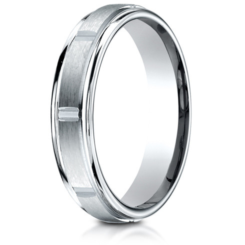 Platinum 4mm Satin Wedding Band with Polished Grooves