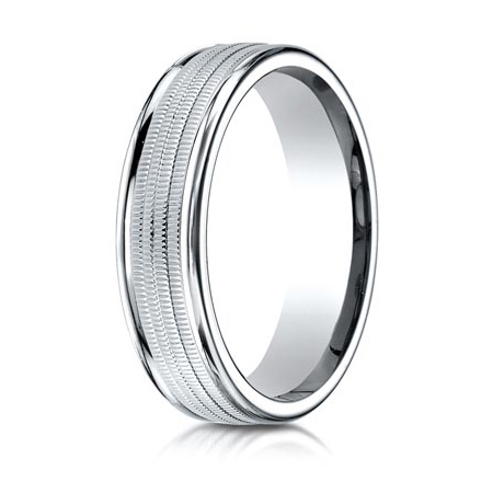 Platinum 6mm Wedding Band with Heavy Milgrain