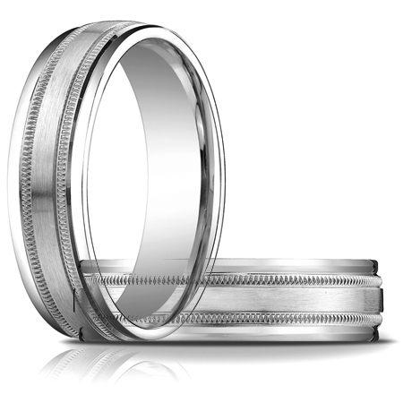 14kt White Gold 6mm Satin Patterned Wedding Band