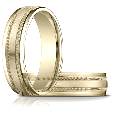 14kt Yellow Gold 6mm Satin Patterned Wedding Band