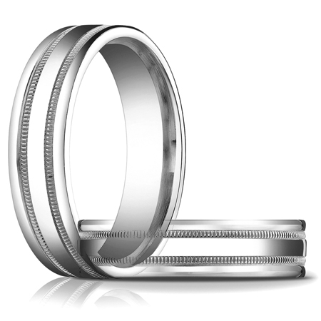 14kt White Gold 6mm Patterned Band
