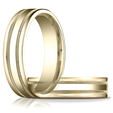 14kt Yellow Gold 6mm Patterned Wedding Band