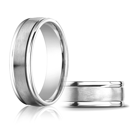 14kt White Gold 6mm Satin Wedding Band with Rounded Edges