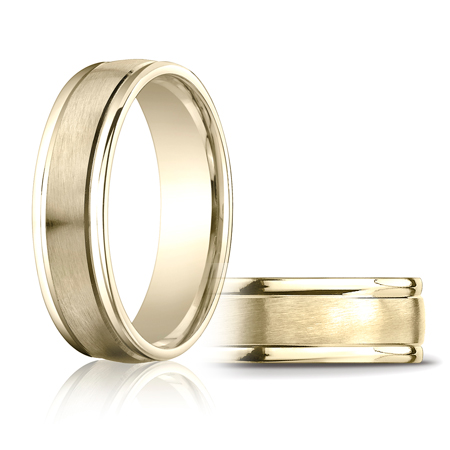 14kt Yellow Gold 6mm Satin Wedding Band with Rounded Edges