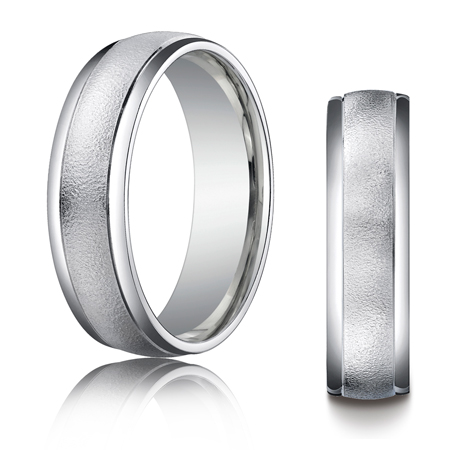 Platinum 6mm Wire Brushed Wedding Band with Rounded Edges