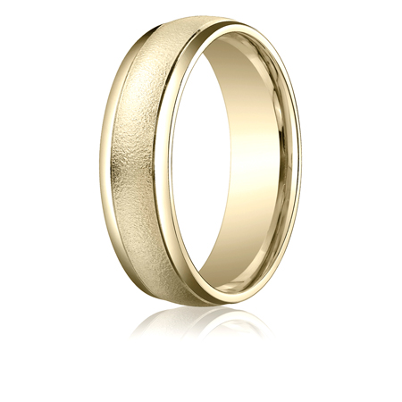 10kt Yellow Gold 6mm Wire Brushed Band with Rounded Edges