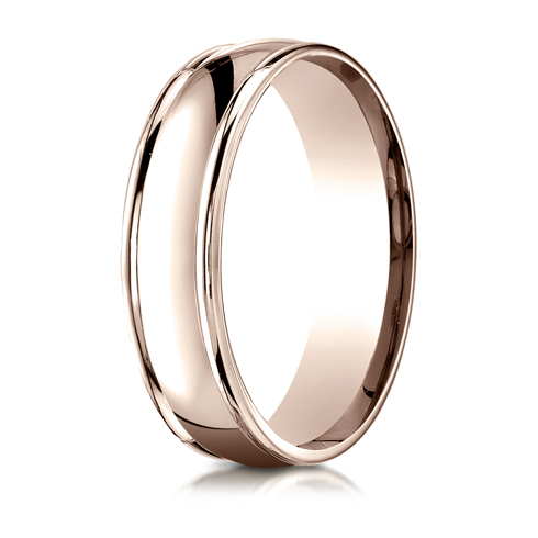 6mm 14kt Rose Gold Wedding Band with Rounded Edges