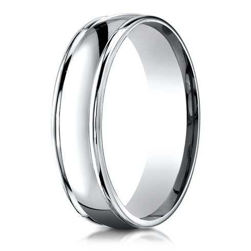 Platinum 6mm Comfort Fit Wedding Band with Rounded Edges