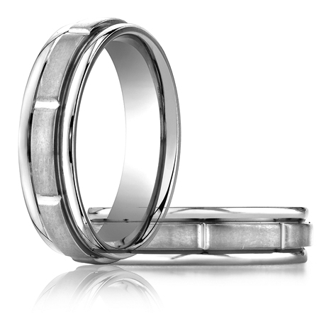 6mm Satin Platinum Band with Polished Grooves