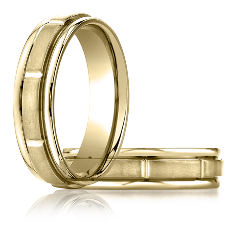 14kt Yellow Gold 6mm Satin Band with Polished Grooves