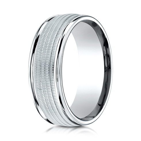 Platinum 8mm Wedding Band with Heavy Milgrain