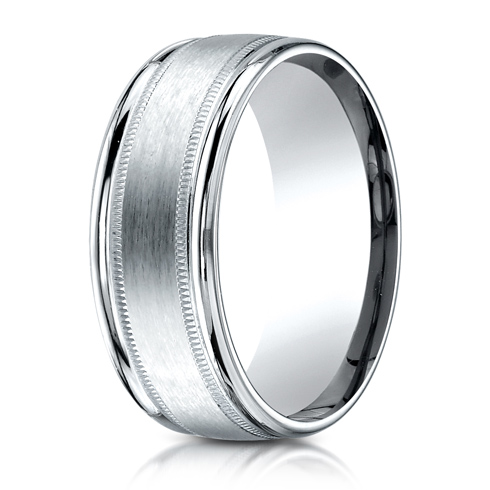 14kt White Gold 8mm Satin Patterned Wedding Band