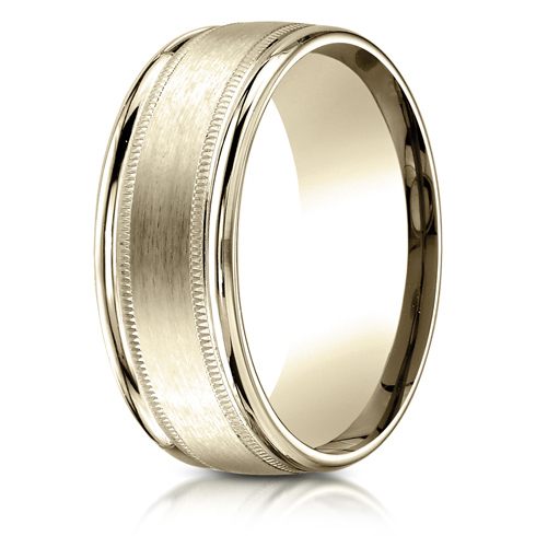 14kt Yellow Gold 8mm Satin Patterned Wedding Band