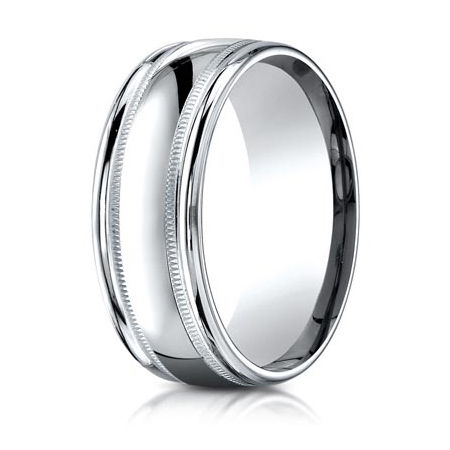 14kt White Gold 8mm Milgrain Wedding Band with Rounded Edges
