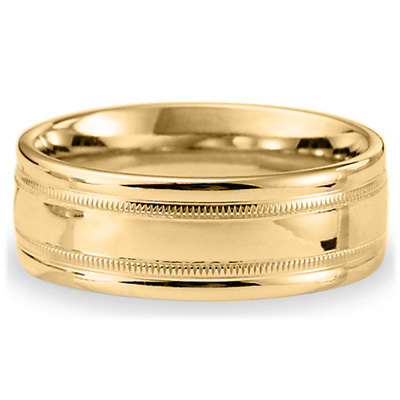 14kt Yellow Gold 8mm Milgrain Band with Rounded Edges