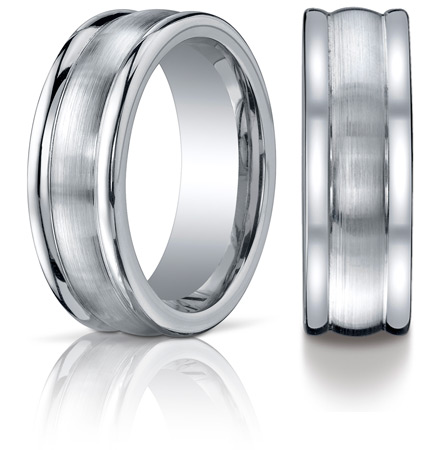 Cobalt Chrome 8mm Satin Wedding Band with Rounded Edges