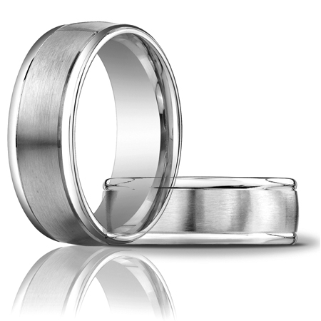 14kt White Gold 8mm Satin Wedding Band with Rounded Edges