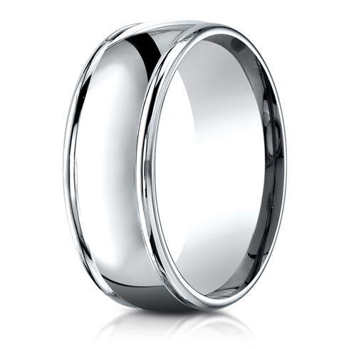 Platinum 8mm Comfort Fit Wedding Band with Rounded Edges