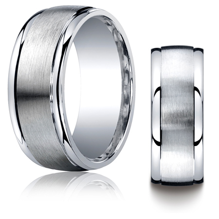 Argentium Silver 9mm Wedding Band with Polished Round Edges