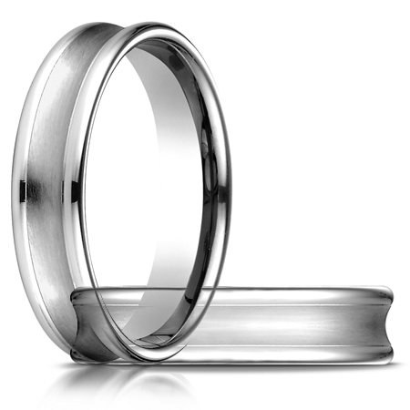 14kt White Gold 5.5mm Concave Wedding Band with Rounded Edges