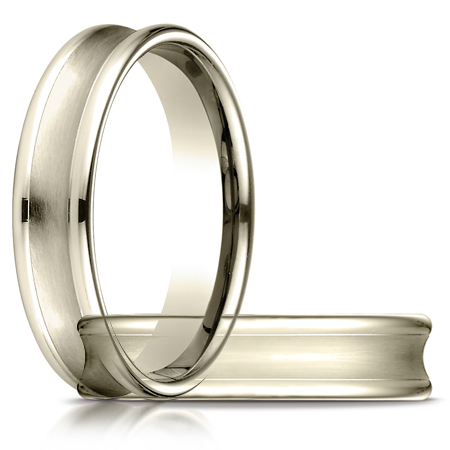 5.5mm Concave Wedding Band with Rounded Edges - 18kt Yellow Gold