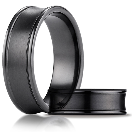 Black Titanium 7.5mm Comfort-Fit Satin-Finished Concave Round Edge Carved Band